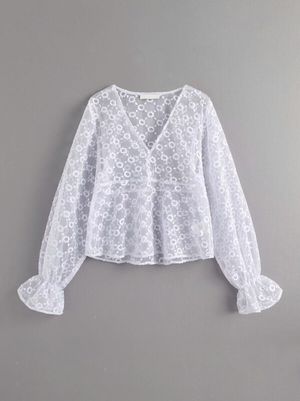 V-Neck Flounce Sleeve Sheer Embroidery Mesh Blouse