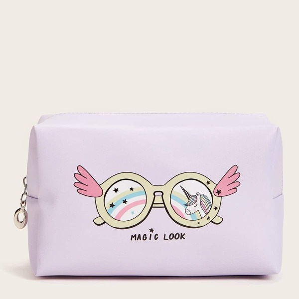 Cartoon Sunglasses Pattern Makeup Bag