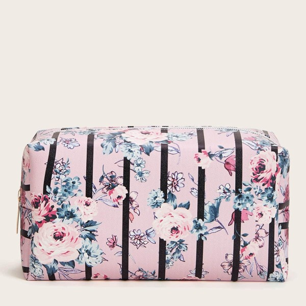 Floral & Striped Makeup Bag