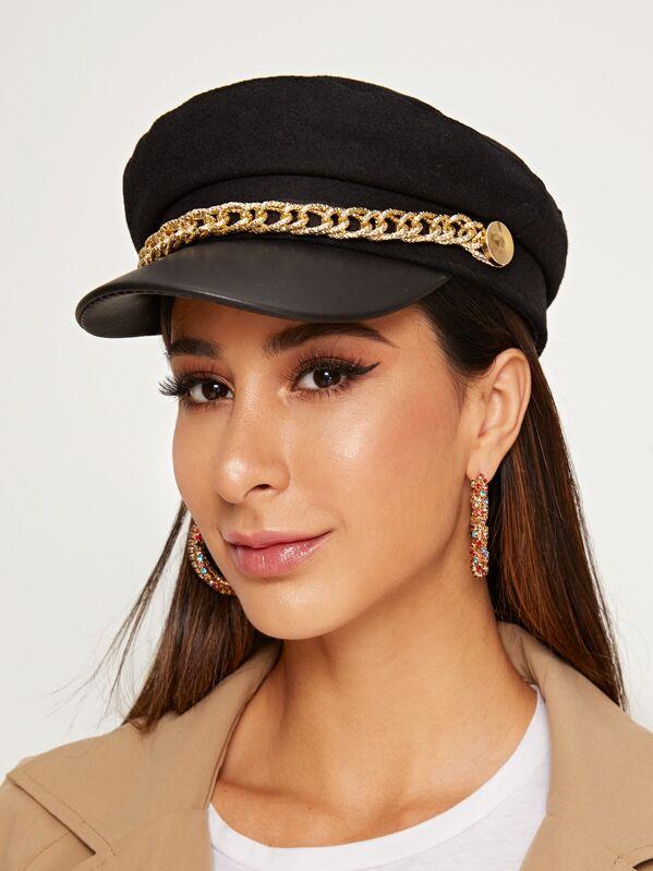 Chain Decor Bakerboy Hat