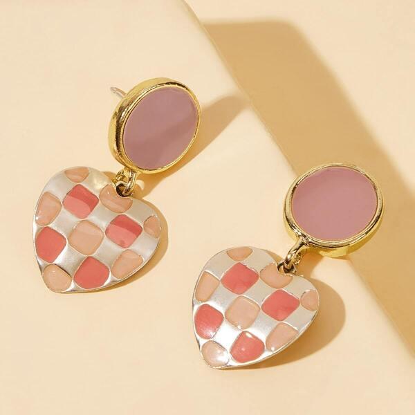 Plaid Pattern Heart Drop Earrings 1pair