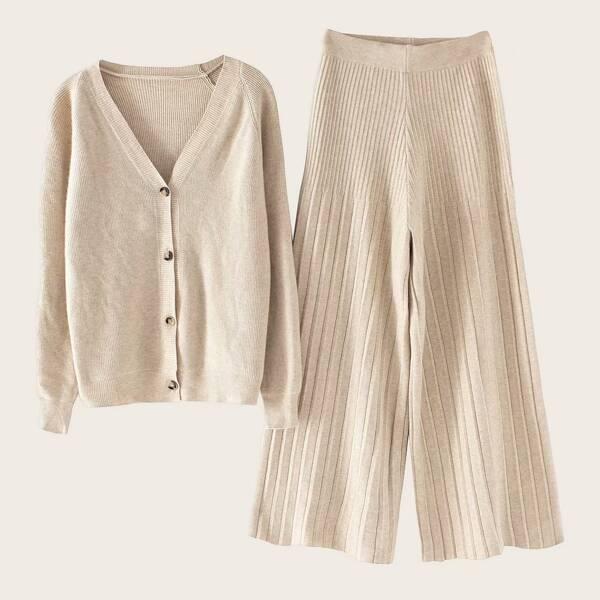 Solid Raglan Sleeve Cardigan & Wide Leg Sweater Pants
