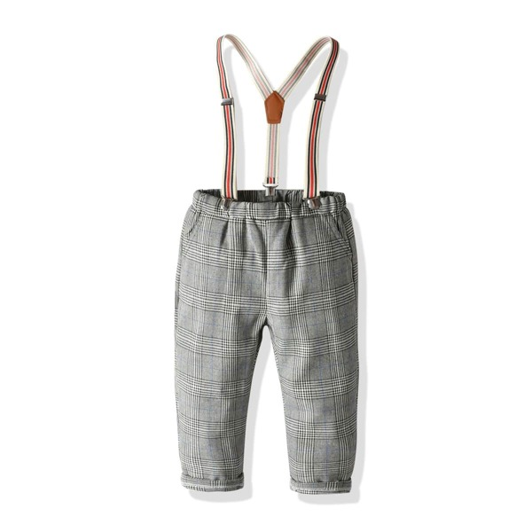 Toddler Boys Glen Check Straight Pants With Straps