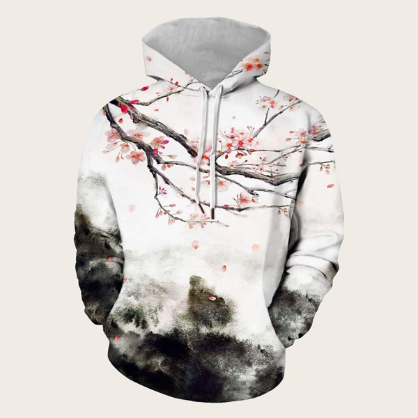 Men Ink Painting Print Drawstring Hooded Sweatshirt