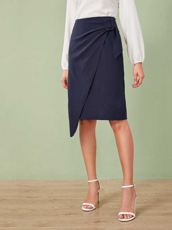 Buckle Detail Wrap Skirt, Rasa