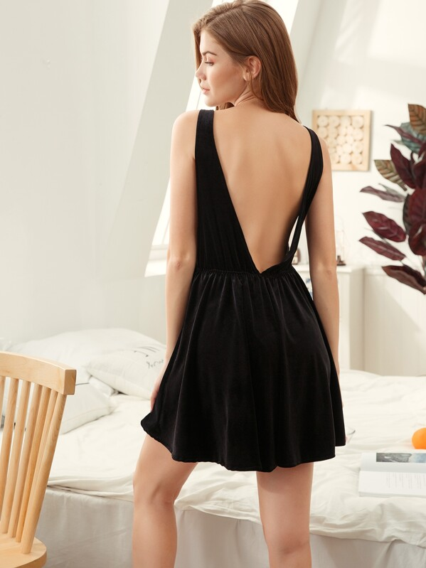 Plunge Back Velvet Night Dress, Klavdia