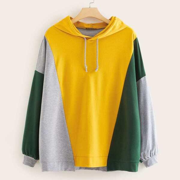 Plus Drop Shoulder Cut-and-sew Drawstring Hoodie, Multicolor
