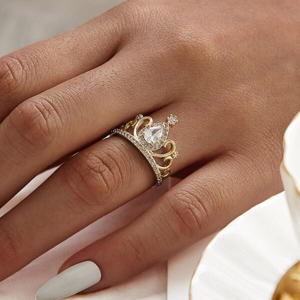 Rhinestone Engraved Crown Ring 1pc
