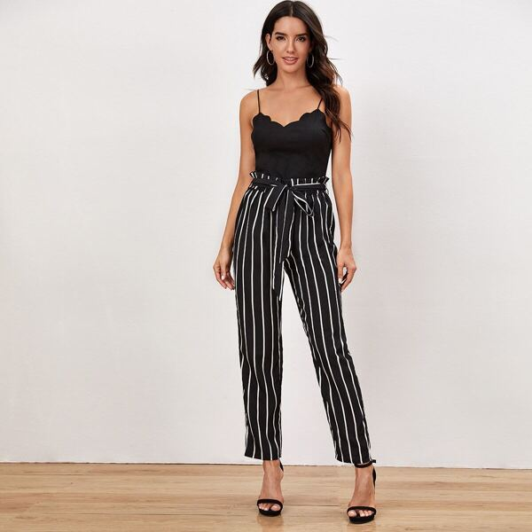 Scallop Trim Cami Top & Striped Belted Pants Set