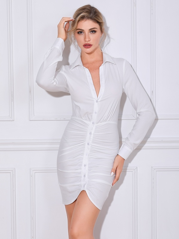 Double Crazy Button Front Ruched Bodycon Shirt Dress