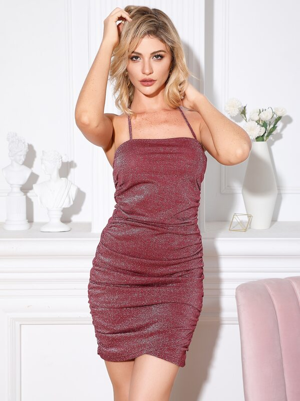Double Crazy Ruched Halter Glitter Bodycon Dress
