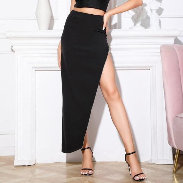 Double Crazy Zip Detail Asymmetrical Skirt, Black