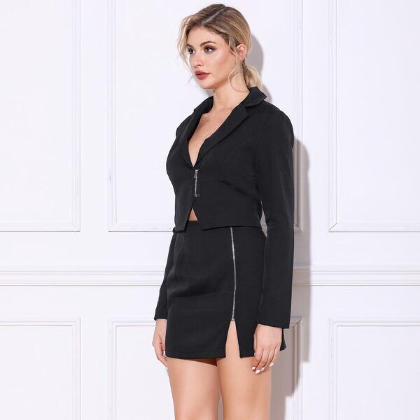Double Crazy Zip Front Crop Blazer & Skirt Set