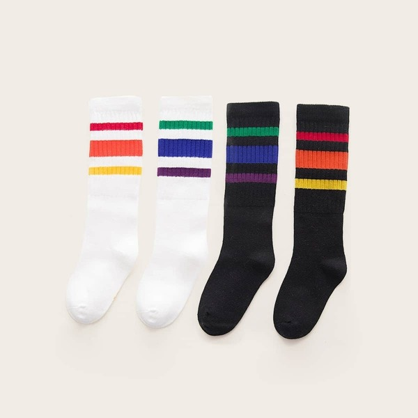 Toddler Kids Colorful Striped Socks 2pairs, Black and white