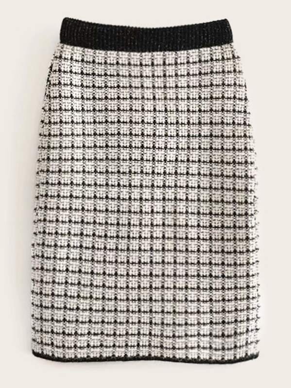 Tweed Contrast Binding Plaid Straight Skirt