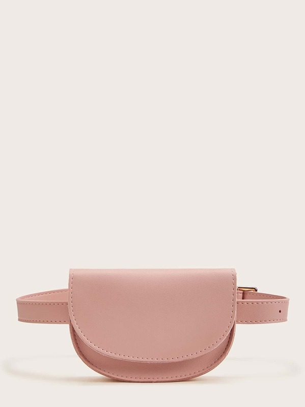 Solid Flap Fanny Pack With Round Purse