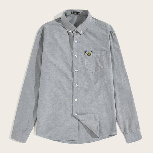 Men Patch Detail Single Pocket Chambray Shirt