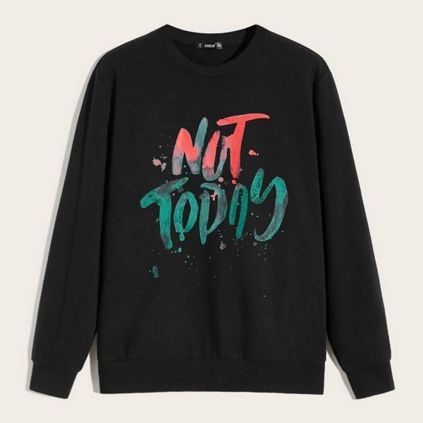 Men Slogan Print Sweatshirt