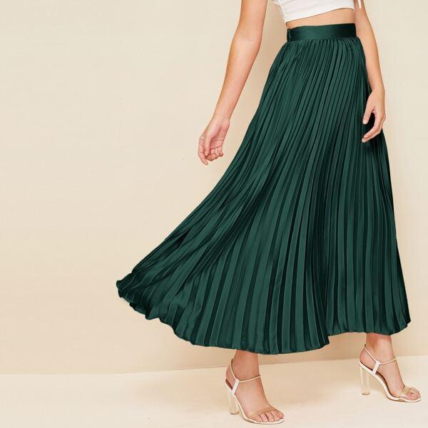 Wide Band Waist Pleated Satin Maxi Skirt