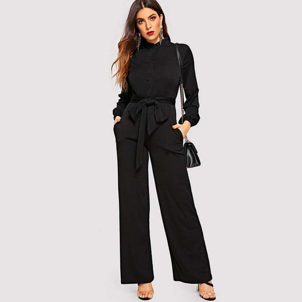 Button Front Belted Wide Leg Shirt Jumpsuit, Black