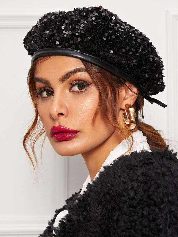 Sequin Decor Beret Hat, Black
