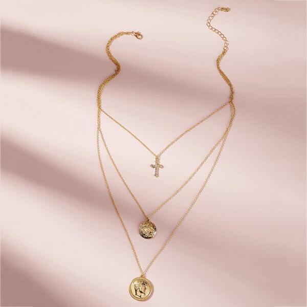 Coin & Cross Charm Layered Necklace 1pc, Gold