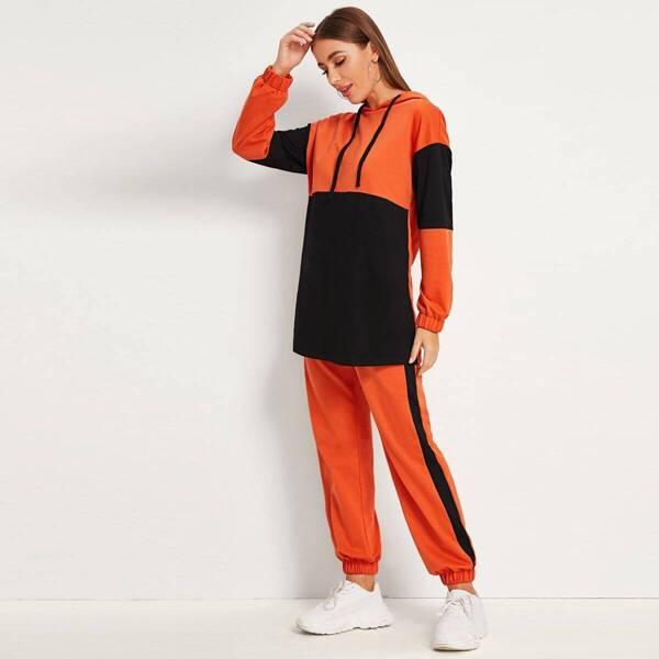 Colorblock Drop Shoulder Hoodie & Sweatpants Set