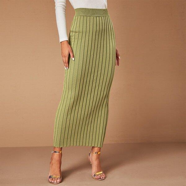 Ribbed Knit Lettuce Trim Sweater Skirt