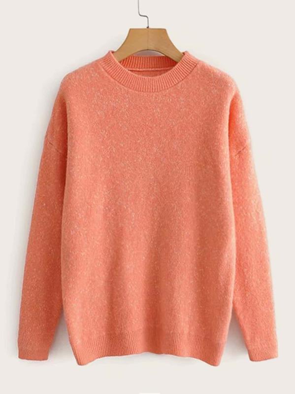 Solid Drop Shoulder Round Neck Sweater