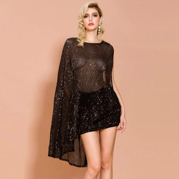 Missord Asymmetrical Backless Sheer Sequin Top & Skirt Set