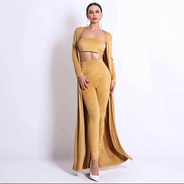 Missord Suede Tube Top & Skinny Pants Set With Longline Coat