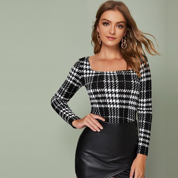 Square Neck Fitted Plaid Top, Black and white