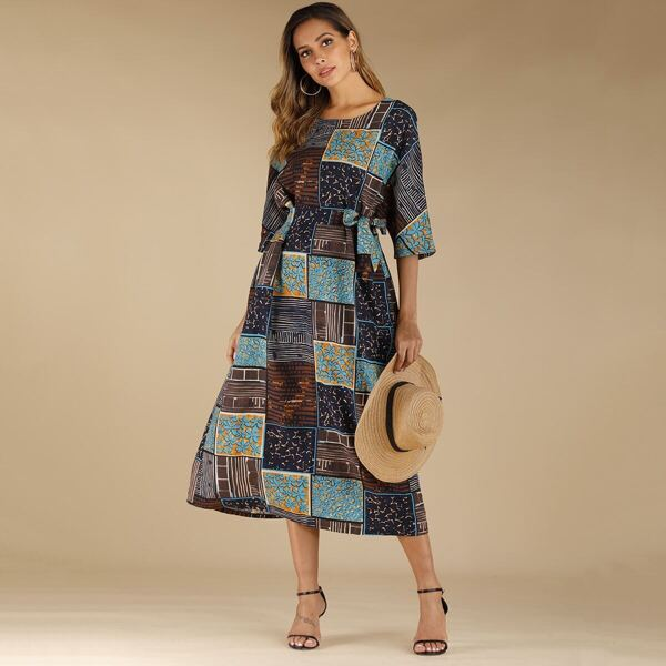 Graphic Print Patchwork Belted Dress, Multicolor