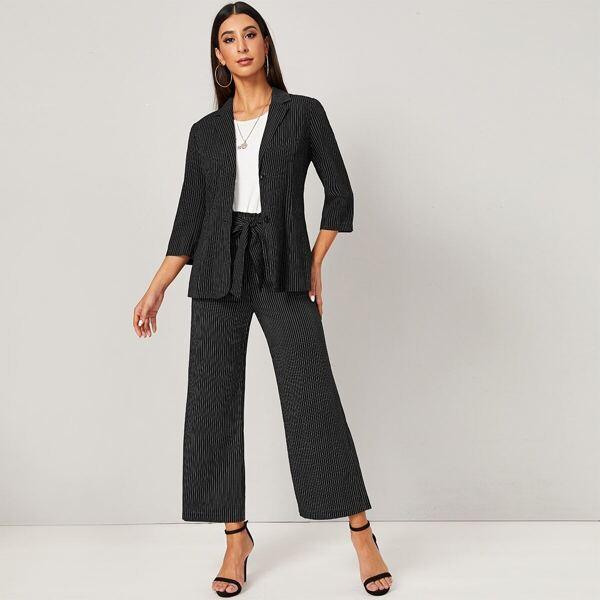 Striped Single Breasted Blazer & Belted Pants Set, Black