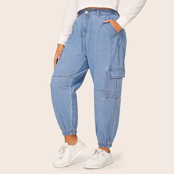 Plus Button Fly Slant And Flap Pocket Jeans
