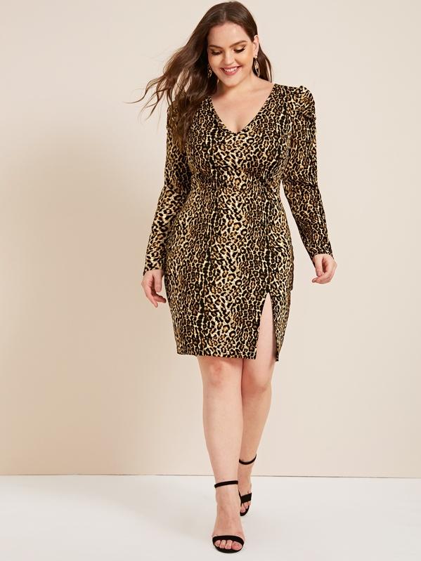 Plus V-neck Split Hem Leopard Print Dress, Multicolor, Ella