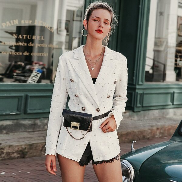 Simplee Notched Collar Buttoned Appliques Blazer Without Bag, White