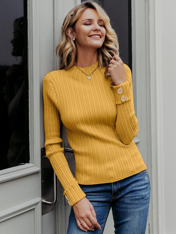 Simplee Mock-Neck Buttoned Cuff Rib-knit Sweater