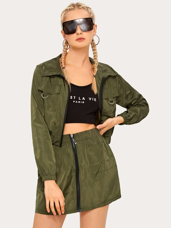 Solid Zip-up Windbreaker Jacket & Skirt, Nikola