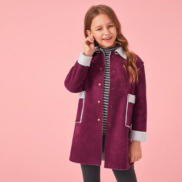 Girls Pocket Front Buttoned Faux Shearling Coat, Burgundy
