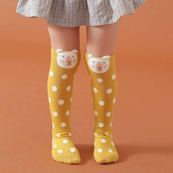 Toddler Girls Polka Dot Pattern Knee Length Socks 1pair, Yellow