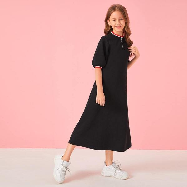 Girls Zip Half Placket Puff Sleeve Sweatshirt Dress