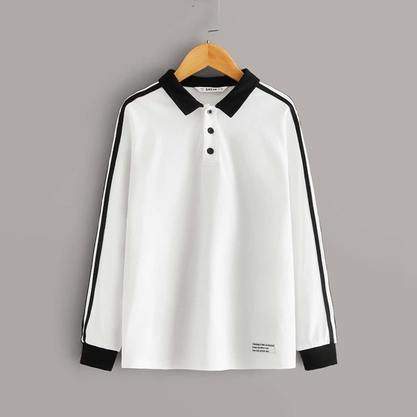 Boys Striped Sleeve Patched Detail Two Tone Polo Shirt