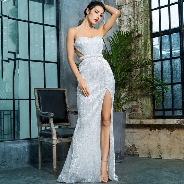 LOVE&LEMONADE Backless Split Thigh Sequin Tube Prom Dress, Grey