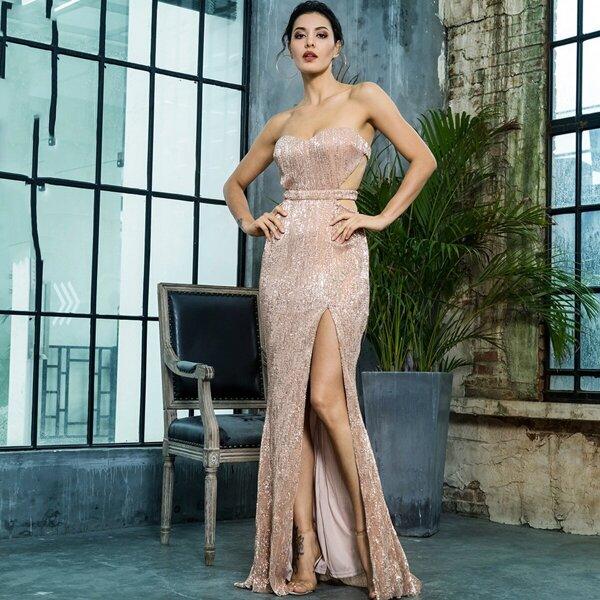 LOVE&LEMONADE Backless Split Thigh Sequin Tube Prom Dress, Pink pastel