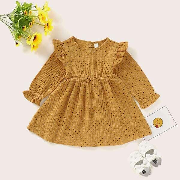 Baby Girl Ruffle Trim Polka Dot A-line Dress