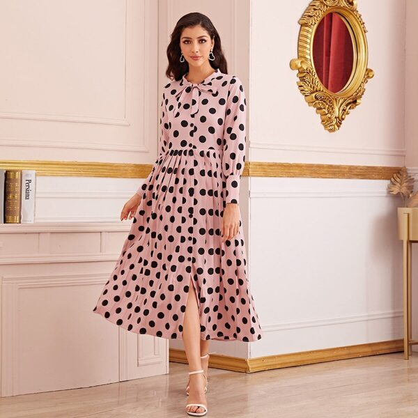 Polka Dot Tie Neck Button Front Pleated Dress, Pink