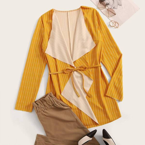 Waterfall Self Tie Striped Coat, Yellow