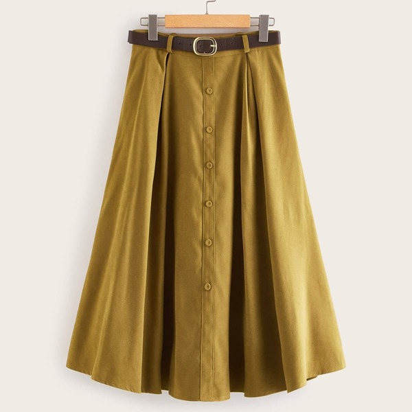 Button Front Self Tie A-line Skirt, Khaki