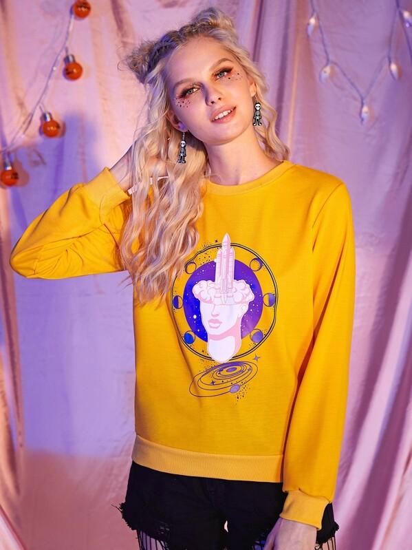 Figure Print Round Neck Sweatshirt, Nikola